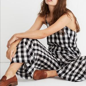 Madewell cami wide leg gingham jumpsuit